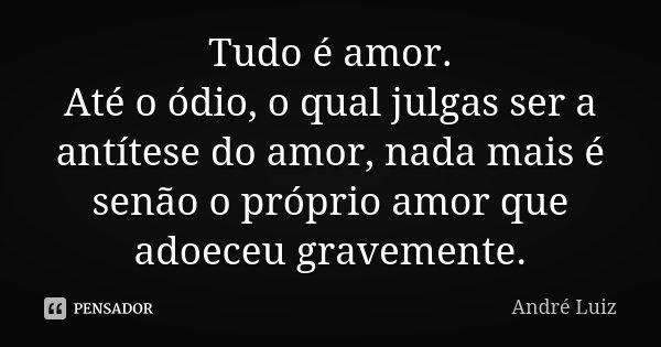 Tudo é amor. Até o ódio, o qual julgas ser a antítese do amor, nada mais é senão o próprio amor que adoeceu gravemente.... Frase de André Luiz.