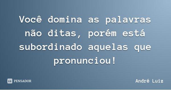 Você domina as palavras não ditas, porém está subordinado aquelas que pronunciou!... Frase de André Luiz.