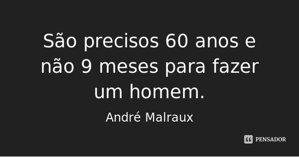 São precisos 60 anos e não 9 meses para fazer um homem.... Frase de André Malraux.