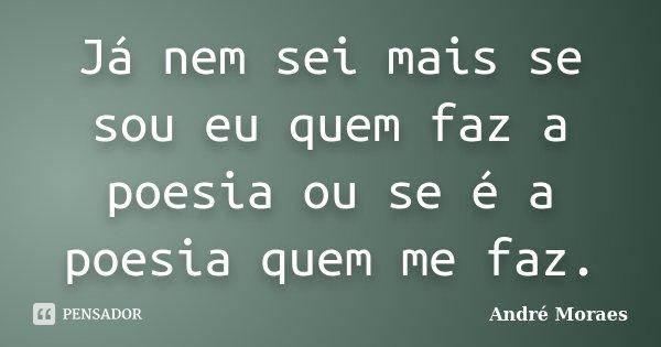 Já nem sei mais se sou eu quem faz a poesia ou se é a poesia quem me faz.... Frase de André Moraes.