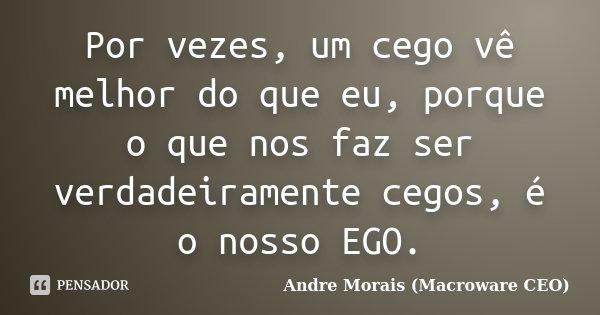 Por vezes, um cego vê melhor do que eu, porque o que nos faz ser verdadeiramente cegos, é o nosso EGO.... Frase de André Morais (Macroware CEO).
