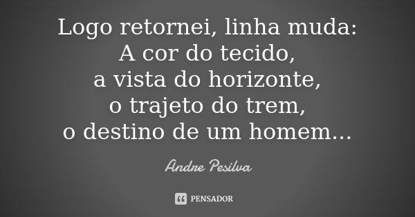 Logo retornei, linha muda: A cor do tecido, a vista do horizonte, o trajeto do trem, o destino de um homem...... Frase de Andre Pesilva.