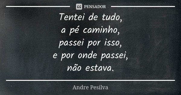 Tentei de tudo, a pé caminho, passei por isso, e por onde passei, não estava.... Frase de Andre Pesilva.