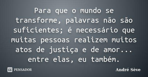 Para que o mundo se transforme, palavras não são suficientes; é necessário que muitas pessoas realizem muitos atos de justiça e de amor... entre elas, eu também... Frase de André Sève.