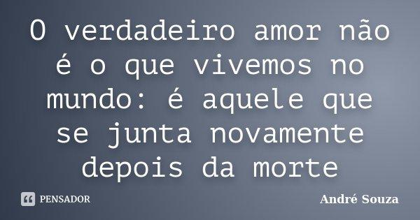 O verdadeiro amor não é o que vivemos no mundo: é aquele que se junta novamente depois da morte... Frase de André Souza.