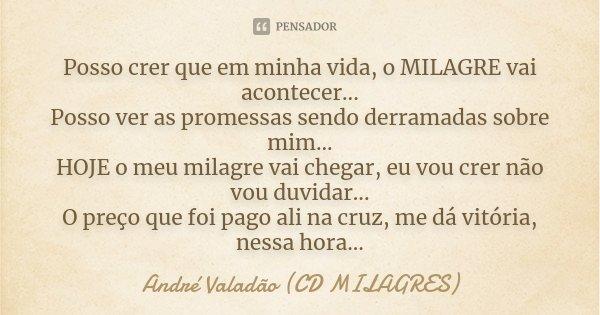 Posso crer que em minha vida, o MILAGRE vai acontecer... Posso ver as promessas sendo derramadas sobre mim... HOJE o meu milagre vai chegar, eu vou crer não vou... Frase de André Valadão (CD MILAGRES).