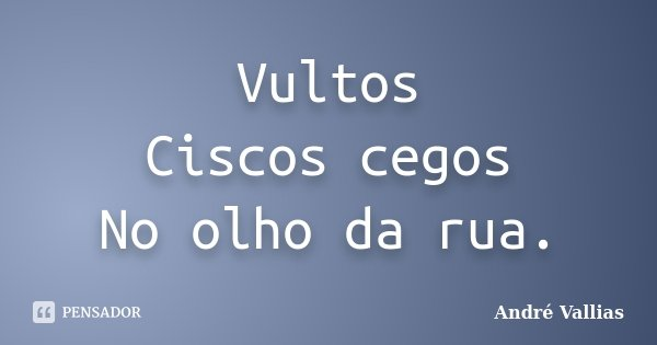 Vultos Ciscos cegos No olho da rua.... Frase de André Vallias.