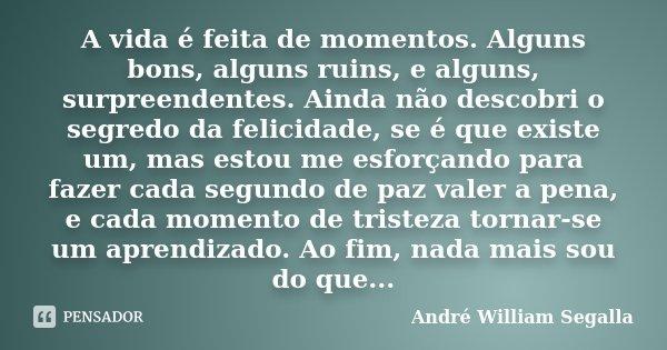 A Vida é Feita De Momentos Alguns André William Segalla