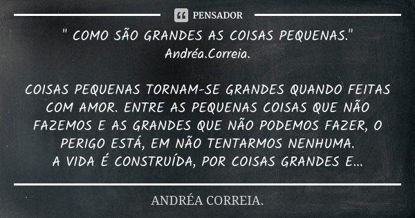""""""" COMO SÃO GRANDES AS COISAS PEQUENAS."""" Andréa.Correia. COISAS PEQUENAS TORNAM-SE GRANDES QUANDO FEITAS COM AMOR. ENTRE AS PEQUENAS COISAS QUE NÃO FAZ... Frase de Andréa.Correia.."""