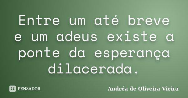 Entre um até breve e um adeus existe a ponte da esperança dilacerada.... Frase de Andréa de Oliveira Vieira.