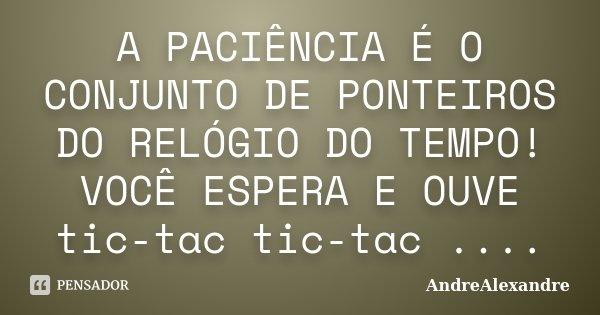 A PACIÊNCIA É O CONJUNTO DE PONTEIROS DO RELÓGIO DO TEMPO! VOCÊ ESPERA E OUVE tic-tac tic-tac ....... Frase de AndreAlexandre.