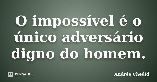 O impossível é o único adversário digno do homem.... Frase de Andrée Chedid.