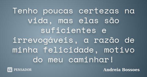 Tenho poucas certezas na vida, mas elas são suficientes e irrevogáveis, a razão de minha felicidade, motivo do meu caminhar!... Frase de Andreia Bossoes.