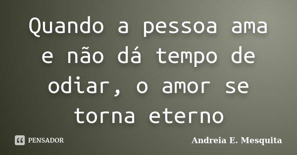 Quando a pessoa ama e não dá tempo de odiar, o amor se torna eterno... Frase de Andreia E. Mesquita.