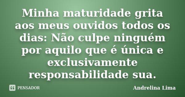 Minha maturidade grita aos meus ouvidos todos os dias: Não culpe ninguém por aquilo que é única e exclusivamente responsabilidade sua.... Frase de Andrelina Lima.