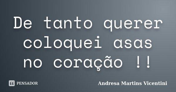 De tanto querer coloquei asas no coração !!... Frase de Andresa Martins Vicentini.