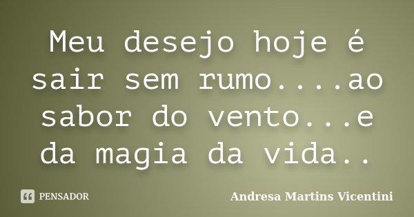 Meu desejo hoje é sair sem rumo....ao sabor do vento...e da magia da vida..... Frase de Andresa Martins Vicentini.