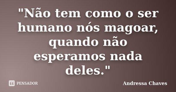 """""""Não tem como o ser humano nós magoar, quando não esperamos nada deles.""""... Frase de Andressa Chaves."""