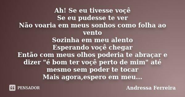 Ah! Se eu tivesse voçê Se eu pudesse te ver Não voaria em meus sonhos como folha ao vento Sozinha em meu alento Esperando voçê chegar Então com meus olhos poder... Frase de Andressa Ferreira.