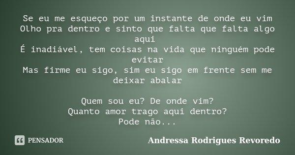 Se eu me esqueço por um instante de onde eu vim Olho pra dentro e sinto que falta que falta algo aqui É inadiável, tem coisas na vida que ninguém pode evitar Ma... Frase de Andressa Rodrigues Revoredo.
