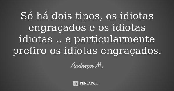 Só há dois tipos, os idiotas engraçados e os idiotas idiotas .. e particularmente prefiro os idiotas engraçados.... Frase de Andreza M..