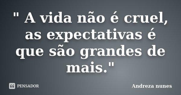 """"""" A vida não é cruel, as expectativas é que são grandes de mais.""""... Frase de Andreza Nunes."""