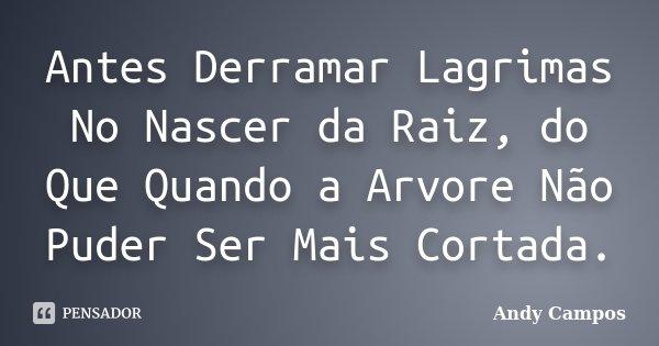 Antes Derramar Lagrimas No Nascer da Raiz, do Que Quando a Arvore Não Puder Ser Mais Cortada.... Frase de Andy Campos.