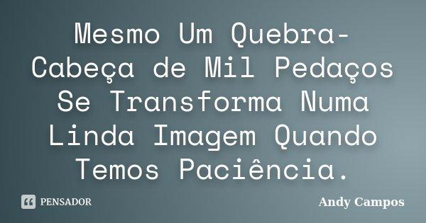Mesmo Um Quebra-Cabeça de Mil Pedaços Se Transforma Numa Linda Imagem Quando Temos Paciência.... Frase de Andy Campos.