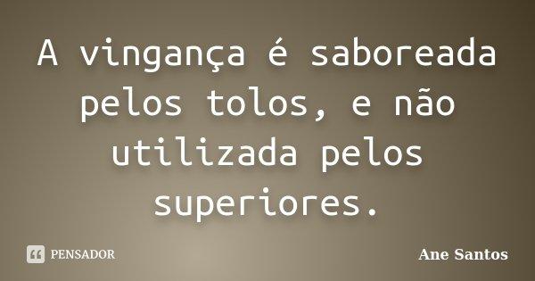 A vingança é saboreada pelos tolos, e não utilizada pelos superiores.... Frase de Ane Santos.