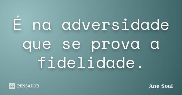 É na adversidade que se prova a fidelidade.... Frase de Ane Soal.