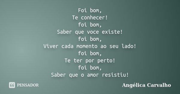 Foi Bom Te Conhecer Foi Bom Saber Que Angelica Carvalho