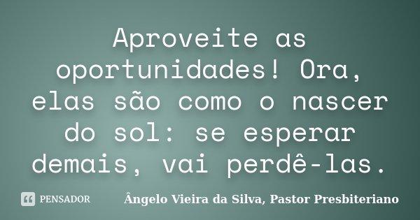 Aproveite as oportunidades! Ora, elas são como o nascer do sol: se esperar demais, vai perdê-las.... Frase de Ângelo Vieira da Silva, Pastor Presbiteriano.