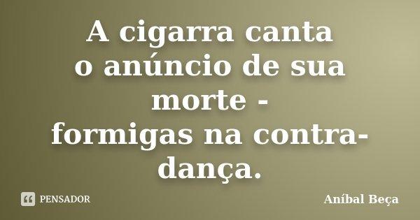 A cigarra canta o anúncio de sua morte - formigas na contra-dança.... Frase de Anibal Beça.
