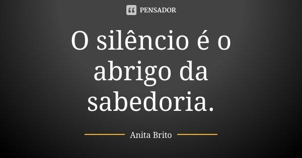 O silêncio é o abrigo da sabedoria.... Frase de Anita Brito.