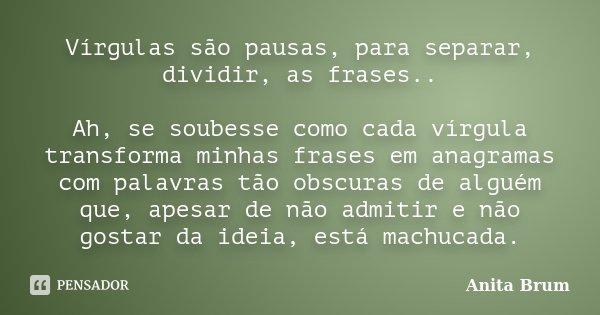 Vírgulas são pausas, para separar, dividir, as frases.. Ah, se soubesse como cada vírgula transforma minhas frases em anagramas com palavras tão obscuras de alg... Frase de Anita Brum.