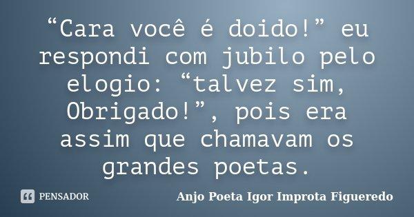 """""""Cara você é doido!"""" eu respondi com jubilo pelo elogio: """"talvez sim, Obrigado!"""", pois era assim que chamavam os grandes poetas.... Frase de Anjo Poeta Igor Improta Figueredo."""