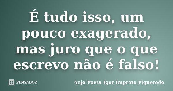 É tudo isso, um pouco exagerado, mas juro que o que escrevo não é falso!... Frase de AnjO poeta ( Igor Improta Figueredo).