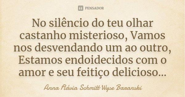 No silêncio do teu olhar castanho misterioso, Vamos nos desvendando um ao outro, Estamos endoidecidos com o amor e seu feitiço delicioso...... Frase de Anna Flávia Schmitt Wyse Baranski.
