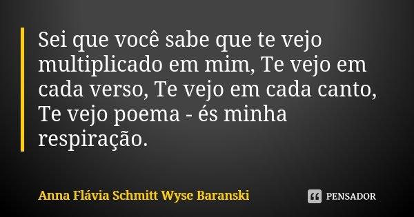 Sei que você sabe que te vejo multiplicado em mim, Te vejo em cada verso, Te vejo em cada canto, Te vejo poema - és minha respiração.... Frase de Anna Flávia Schmitt Wyse Baranski.