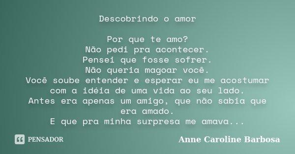 Descobrindo o amor Por que te amo? Não pedi pra acontecer. Pensei que fosse sofrer. Não queria magoar você. Você soube entender e esperar eu me acostumar com a ... Frase de Anne Caroline Barbosa.