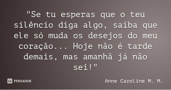 """""""Se tu esperas que o teu silêncio diga algo, saiba que ele só muda os desejos do meu coração... Hoje não é tarde demais, mas amanhã já não sei!""""... Frase de Anne Caroline M. M.."""
