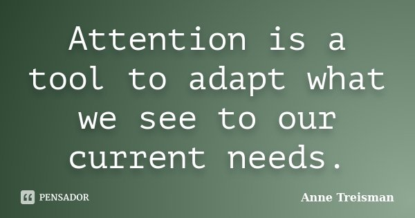 Attention is a tool to adapt what we see to our current needs.... Frase de Anne Treisman.