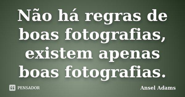 Não há regras de boas fotografias, existem apenas boas fotografias.... Frase de Ansel Adams.