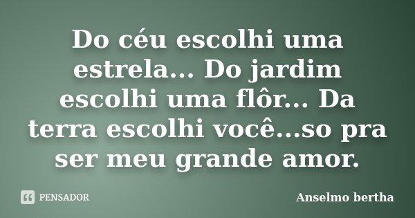 Do céu escolhi uma estrela... Do jardim escolhi uma flôr... Da terra escolhi você...so pra ser meu grande amor.... Frase de Anselmo bertha.