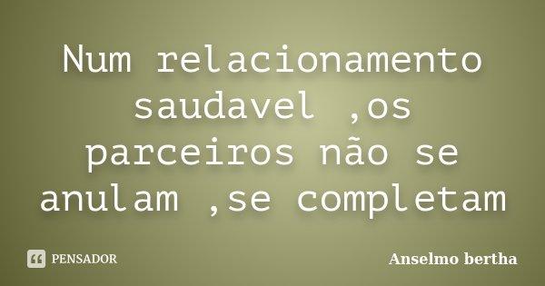 Num relacionamento saudavel ,os parceiros não se anulam ,se completam... Frase de Anselmo bertha.