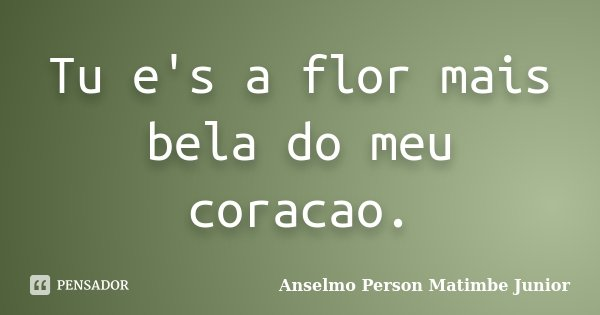Tu e's a flor mais bela do meu coracao.... Frase de Anselmo Person Matimbe Junior.