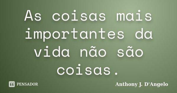 As coisas mais importantes da vida não são coisas.... Frase de Anthony J. D'Angelo.