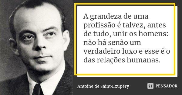 A grandeza de uma profissão é talvez, antes de tudo, unir os homens: não há senão um verdadeiro luxo e esse é o das relações humanas.... Frase de Antoine de Saint-Exupéry.