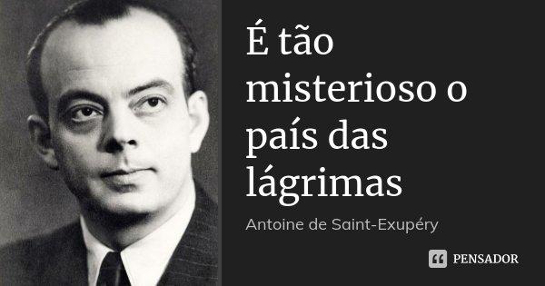 É tão misterioso o país das lágrimas... Frase de Antoine de Saint-Exupéry.