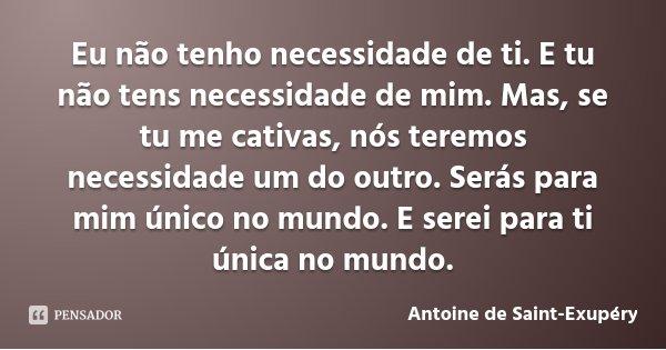 Eu não tenho necessidade de ti. E tu não tens necessidade de mim. Mas, se tu me cativas, nós teremos necessidade um do outro. Serás para mim único no mundo. E s... Frase de Antoine de Saint-Exupéry.